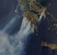 Hellas In Flames (MODIS Image courtesy of NASA)