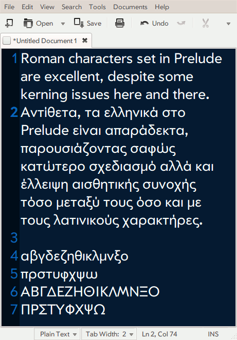 Prelude Hellenic Font.