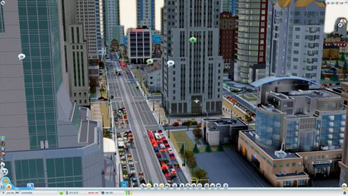 You can control the camera and zoom closely, or 'hover' at low altitude, where people and vehicles are clearly visible (and clickable!). Everything is simulated in Glassbox, SimCity's engine.